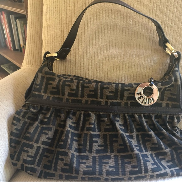 Fendi Handbags - Fendi Jacquard Fabric And Leather Shoulder bag